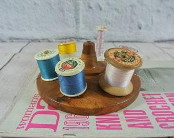 Vintage Wooden Cotton Spool Holder | Thread Holder | Sewing Reel Caddy Storage