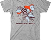 Mens hipsterpotamuses T-Shirt funny Hippo, animal, cool,punny, back to school, happi hippo, hippo art, gift, S-5XL