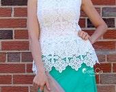 SALE Lauren - White Lace Top, Peplum Top, Crochet Lace Blouse, Cocktail Shell Top, Guipure Lace, Bridal Top Blouse