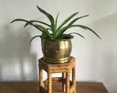 RESERVED FOR RICKI plant stand. vintage boho style plant stand. bamboo wicker plant stand. tiki mid century bohemian wooden plant stand
