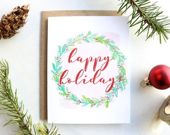 Happy Holidays Watercolor Wreath Christmas Card