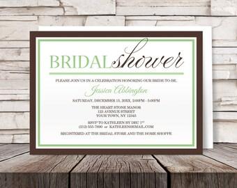 Green Brown Bridal Shower Invitations - Modern design - Printed Invitations
