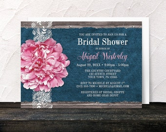 Pink Peony Bridal Shower Invitations - Rustic Pink Floral on White Lace over Blue Denim and Brown Wood - Printed Invitations
