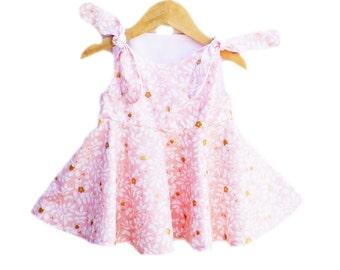 Last One - Glitter Cherry Blossoms Baby Dress - Peach Toddler Girls - Shabbi Chic Style  - Baby Shower - Birthday Gift - Custom Made USA