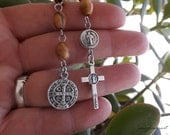 St Benedict Rosary, One Decade Rosary, Olive Wood Beads, Men's Tenner, Father's Day, Saint Benedict Pocket Rosary, Men's Rosary Chaplet