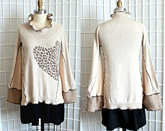 Upcycled Sweater Leopard Heart Beige Black Tunic Top Bohemian Bell Sleeves Recycled Clothing Size Medium