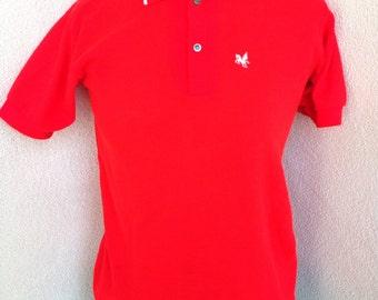 Vintage BoysWear Sears shirt neon orange collar boys sz 16 womens xs