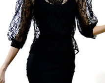 Vintage Black Lace Blouse Sheer Blouson Victorian Style High Collar Buttoned Neck  Steampunk Womens Clothing Fashion