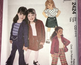Uncut sewing pattern for McCall's #2424 Girl Toddler Child's Blazer, Top, Flared Pants & Skirt - 90s style - Size 2 3 4 6 7 8 YMA47R
