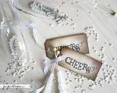 Cheers Tags - Rustic Champagne, Wine Bottle Tags - Set of 6 Wedding Favor Tags, Escort Card, Place Card Tags with Raffia