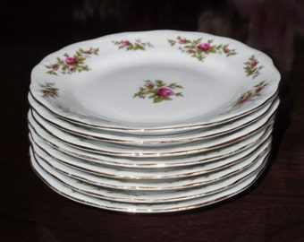 "8 Mint JOHANN HAVILAND Plates Moss Rose Pattern Bread Butter 6 1/4"" Dessert Plates  24kt Gold Trim Scalloped China Set Excellent Condition"
