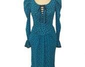 vintage 1980s BETSEY JOHNSON floral prairie dress / Punk Label / blue black / cotton blend / women's vintage dress / tag size small
