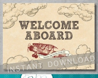 Welcome Sign - Vintage Airplane Baby Shower - Birthday - Baby Boy - Decoration - 5x7 inches - Digital - Printable - INSTANT DOWNLOAD