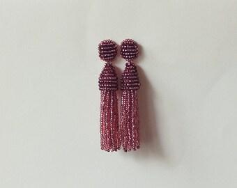 Beaded Tassel Earrings Dark Berry Shine (made to order)