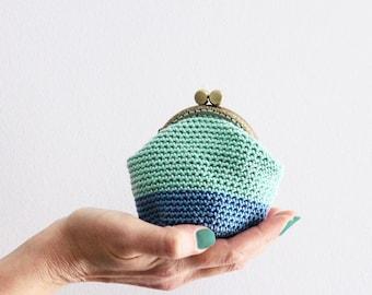 Crochet coin purse, kiss lock coin purse, frame coin purse, color block coin purse, the Mint Again Keeper, in mint and denim blue