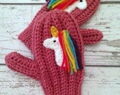 Unicorn Mittens, Crochet Animal Mittens, Children's Mittens, Made to Order