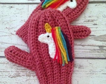 Unicorn Mittens, Crochet Animal Mittens, Children's Mittens, Made to Order