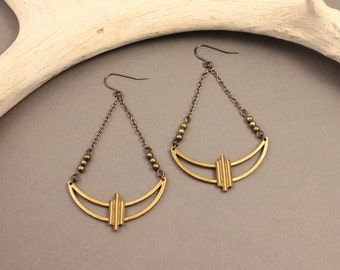 Moongazer brass crescent earrings with pyrite- modern native deco moon earrings