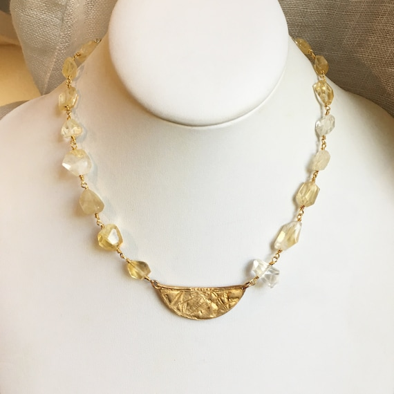 Horizon Necklace in Citrine, Gold and Bronze