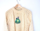 Vintage Fisherman's Cable Irish Hand Knit Wool Sweater Mens Small Vintage Menswear NOS Mint condition
