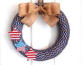 Chevron Burlap Wreath - Patriotic Wreath - Red/White/Blue Wreath - Blue Chevron Burlap Wreath with Glittery Wooden Stars  - Choose your size