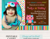 Girl Owl Birthday Invitation - Pink owl invitation - Cute owl invitation - Owl birthday - Owl party - Printable owl - DIY Custom Printable