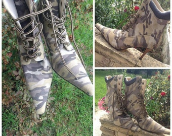 SALE-NEW Pointed Toe Camouflage Pattern Boots, unworn, original, fabric, European 39, U.S. 8-8 1/2, 'EXE', made in Greece