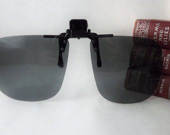 Square Clip on Sunglasses, Mens Polarized Sunglasses, Flip up Sunglasses, Gray UV Block Glasses, Vintage New Old Stock