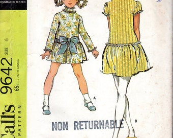 """1960s Girls' High Collared, Dropped Waist Dress with Petticoat Pattern- Size 6, Breast 25"""" - McCall's 9642"""