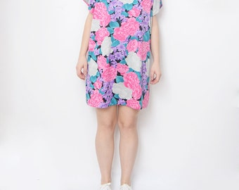 Vintage floral blossom bright pink purple mini dress / tunic