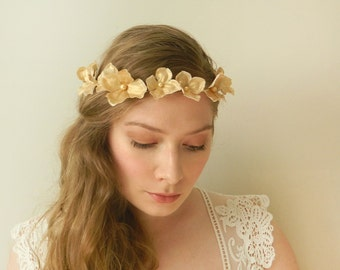 Gold Hydrangea Headpiece - Rustic Faerie Hair Crown - Delicate Wreath of Gold