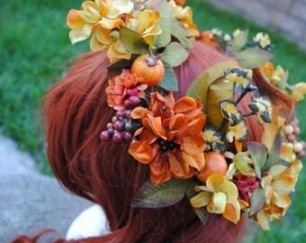 Autumn Harvest Fall Fairy Flower Crown / Adult Bohemian Floral Hair Wreath