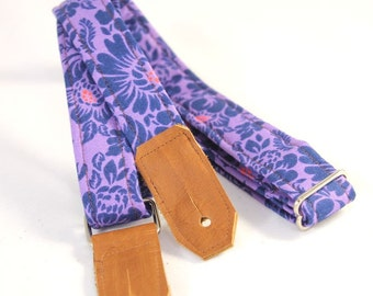 Violet Flower Ukulele Strap - Choose your Leather Ends Color