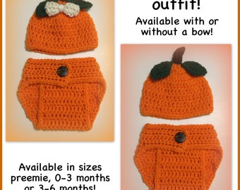 READY TO SHIP Pumpkin baby outfit, crocheted hat and diaper cover, preemie, 0-3 months newborn 3-6 months photo prop Halloween baby orange p