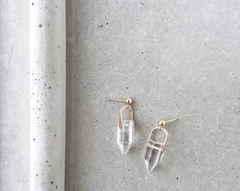Crystal Arch Earrings / 14k gold fill / clear quartz point dangle post earrings