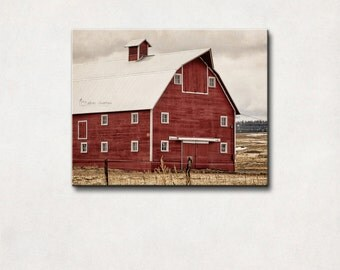 Canvas Art | Red Barn Photography, Country Farmhouse Decor, Rustic Wall Art, Red, Gray & Brown