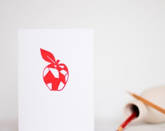 Teacher Thank You Card - Rosy Red Apple