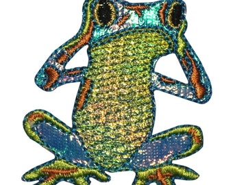 ID 0002 Frog Hear No Evil Embroidered Iron On Badge Applique Patch
