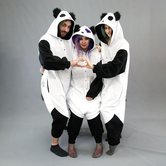 Pawstar Panda Bear Kigu Kigurumi White Heart Stitch Loves You Best Quality Black White Adult Onsie Pajamas Halloween Costume 6326