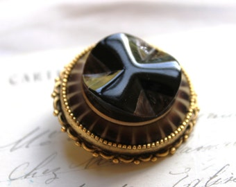 Art Deco Brooch Pin, Black and Brown Celluloid Button Brooch Pin Winter Accessories Art Deco Button Jewelry veryDonna