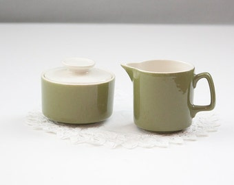 Green Creamer and Sugar Bowl