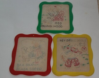 3 Vintage Framed Child's Nursery Rhyme Embroidery Unfinished