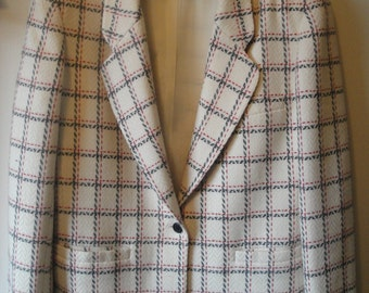 Vintage Evan Picone White Wool Jacket With Red and Black Plaid Size 8 From the 1990s