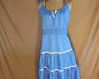 Plus Size 80's Vintage Blue Spaghetti Strap Sundress