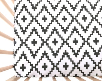 Crib Sheet Black Southwest Diamonds. Fitted Crib Sheet. Baby Bedding. Crib Bedding. Minky Crib Sheet. Crib Sheets. Black Crib Sheet.