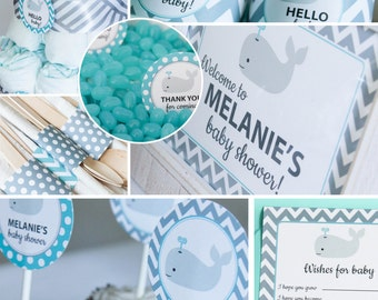 Whale Baby Shower Decorations Teal Gray Chevron Printable DIY