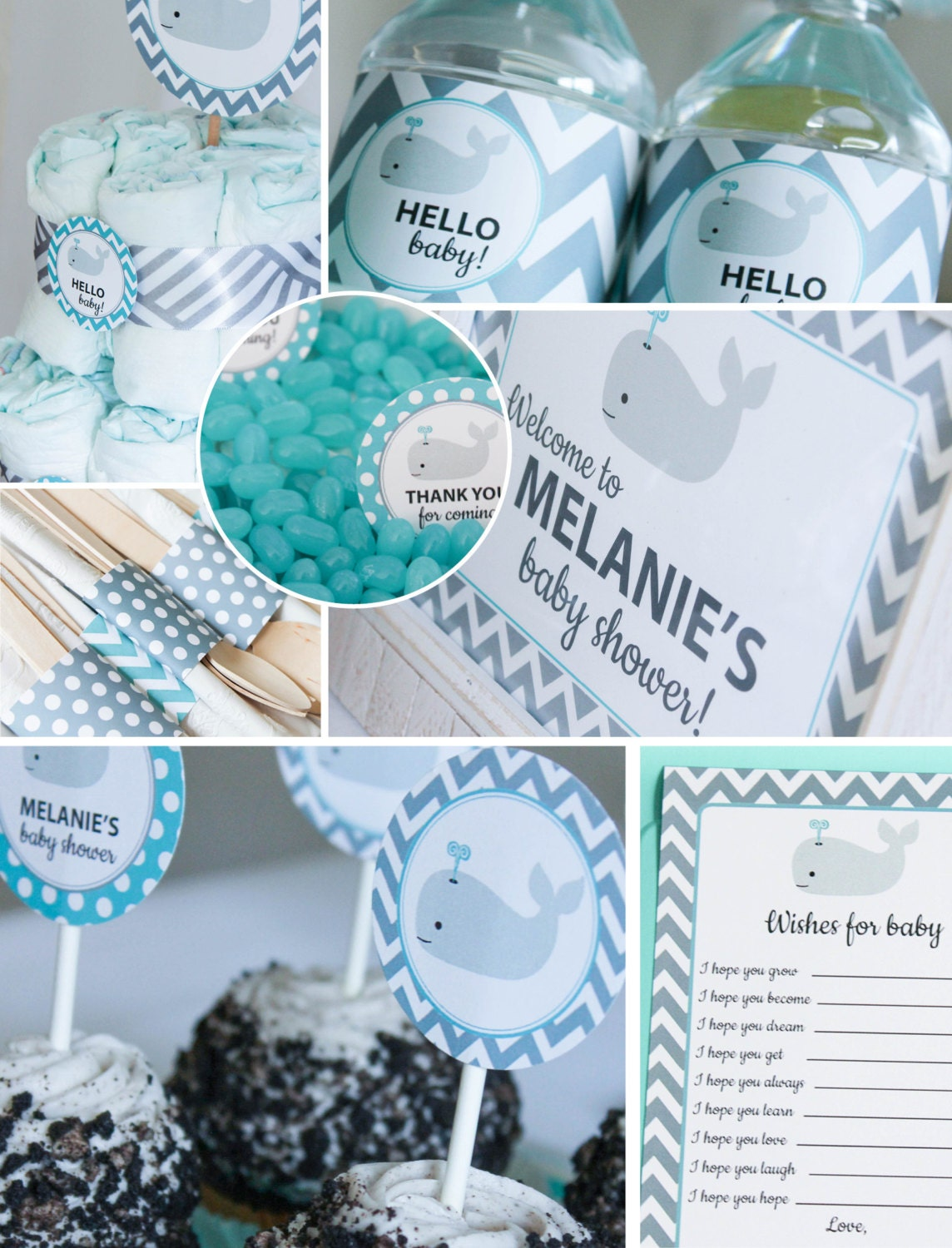 Whale baby shower decorations teal gray chevron printable diy - Baby shower chevron decorations ...