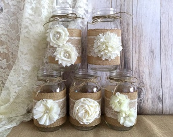 5 burlap and ivory lace covered mason jar vases with flowers, wedding, bridal shower, baby shower decor.