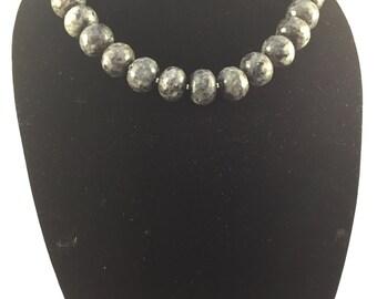 JENNIFFER - Grey/Black Labrodite Necklace