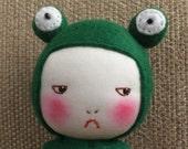 Handmade grumpy frog doll